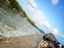 小船在Khong河 库存照片
