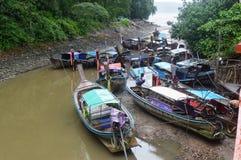 小船在KRABI镇泰国 免版税图库摄影
