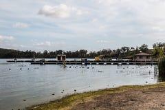 小船在Otay湖的船坞和租务小船 库存图片