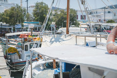 小船在Pollonia港口 库存照片