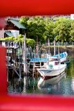 小船在Tsukushima,东京 库存照片