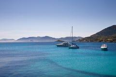 小船地中海撒丁岛 库存照片
