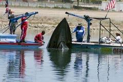 小船失败水上飞机ihba抢救 免版税图库摄影
