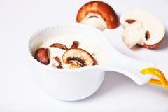 小船小汤蘑菇酱油 免版税库存照片