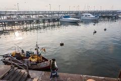 小船小游艇船坞埃斯特角乌拉圭 库存照片
