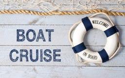 小船巡航-欢迎在船上 免版税库存图片