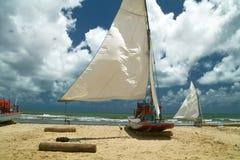 小船巴西渔夫s航行 库存图片