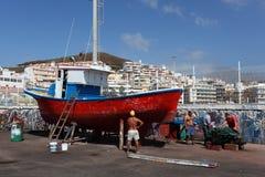 小船干船坞捕鱼 免版税库存照片