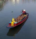 小船底部运河平面的泰国 库存照片