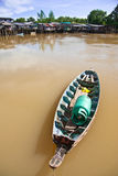 小船当地样式泰国木头 免版税库存图片
