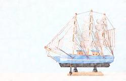 小船抽象背景  五颜六色的铅笔剪影绘画样式 免版税库存图片