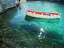 小船捕鱼希腊 图库摄影