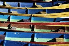 小船接近的看法  免版税库存图片