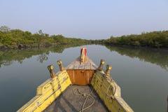 在Sundarbans的小船 库存照片