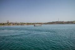 从小船旅行的看法 免版税库存图片