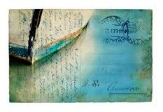 小船明信片反映葡萄酒 免版税库存照片