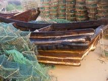 小船木的虾笼 免版税库存照片