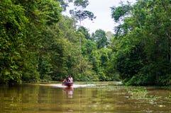 小船沿回归线包围的Kinabatangan河航行 库存图片