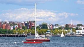 小船波士顿海岸港口 免版税库存图片