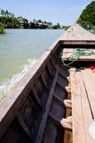 小船海岛湄公河一千木头 免版税库存照片