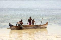 小船海湾的印度洋, Nosi渔夫是,马达加斯加11月 库存图片