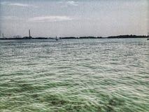 小船海洋和平的海景热带越南视图 库存照片