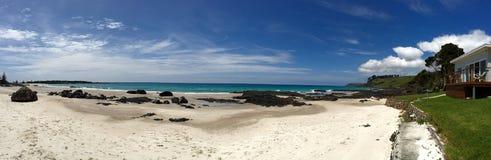 小船港口海滩塔斯马尼亚岛 蓝色水色海洋和白色沙子 平安的夏天和绿草 免版税库存图片