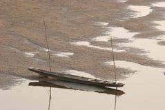 小船湄公河河床二 免版税库存照片
