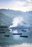 小船湖尼泊尔乐趣pokhara 库存图片