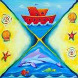 小船生活海洋绘画红色 免版税库存照片