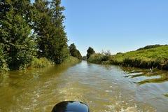 从小船的摩拉瓦河 巴塔运河 库存照片