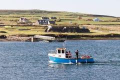 小船的游人到Skellig海岛 免版税库存照片