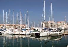 小船直布罗陀端口 免版税图库摄影