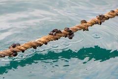 小船相接的绳索 免版税库存图片
