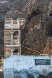 小船着陆和楼梯在Anacapa海岛上在南加州 库存图片