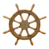 小船老方向盘 免版税库存图片
