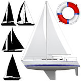 小船航行向量 图库摄影
