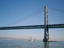 小船航行在海湾桥梁下的旧金山边 免版税图库摄影