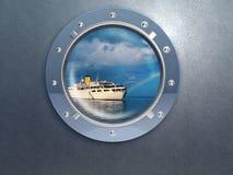 小船舷窗旅行 库存照片