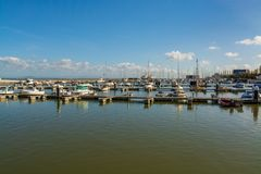小船船坞在Parque das Nacoes在里斯本 库存照片