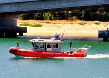 小船船身可膨胀的rhib装配了uscg 库存照片