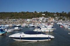 小船莱姆里杰斯港口多西特英国英国在英国侏罗纪海岸的一美好的仍然安静天在夏天 库存照片