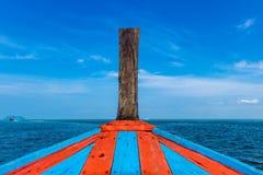 小船蓝色海 库存图片