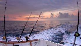 小船钓鱼竿 免版税库存图片