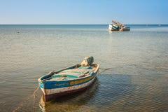 小船钓鱼老 豪迈特苏格,海岛Jerba,突尼斯 免版税库存照片