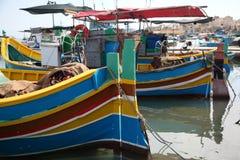 小船钓鱼马尔他 免版税图库摄影