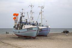 小船钓鱼 Torup子线,日德兰,丹麦 图库摄影