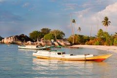 小船钓鱼indoneisan 库存照片