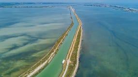 小船鸟瞰图在运河的在地中海从上面Etang de Thau水盐水湖,旅行干涉法国 免版税库存照片