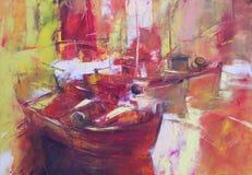 小船,现代手工制造绘画 免版税库存照片